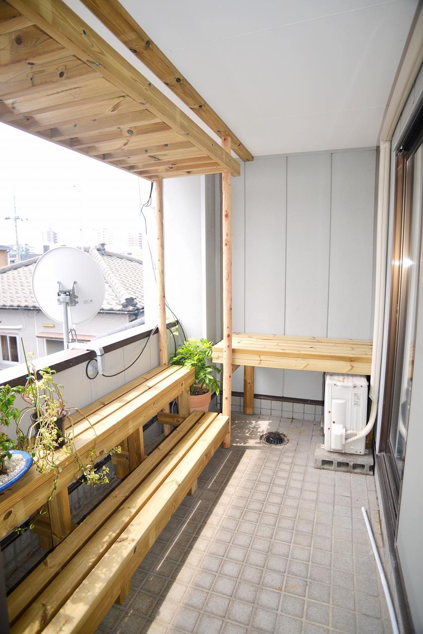 【ベランダリフォーム】藤棚&植木鉢棚造作工事